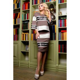 Костюм женский (джемпер, юбка) 75036  цвет кофе, р-р 42 (S)