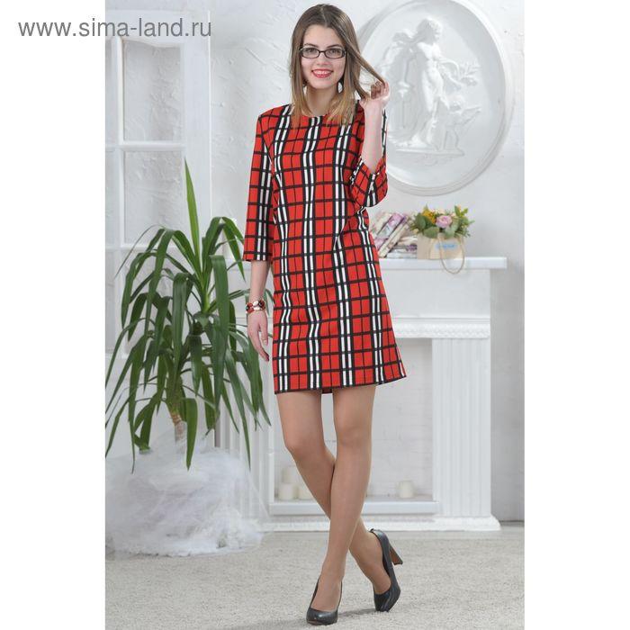 Платье, размер 48, рост 164 см, цвет красный/чёрный/белый (арт. 4677б)