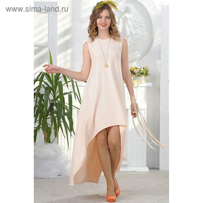 Платье, размер 48, рост 164 см, цвет светло-персиковый (бежевый) (арт. 4676б)
