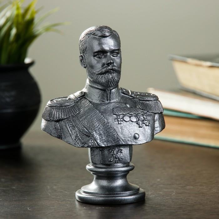 """Статуэтка """"Бюст Николая II"""" металлик"""