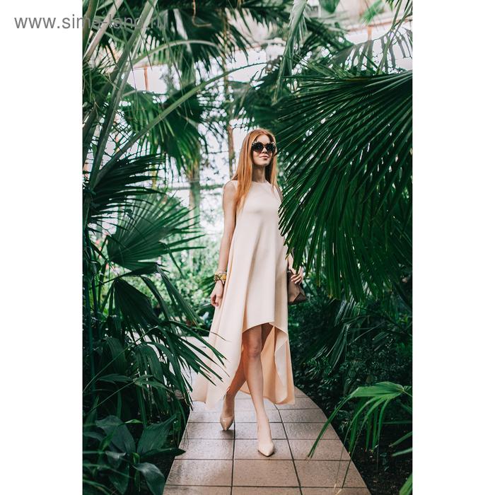 Платье, размер 42, рост 164 см, цвет светло-персиковый (бежевый) (арт. 4676б)