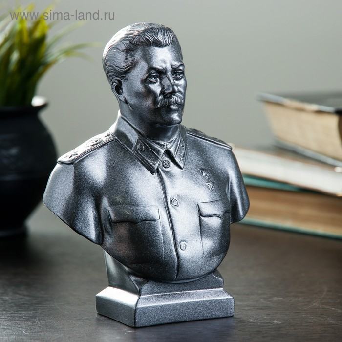 """Статуэтка """"Бюст Сталина"""" большая, металлик"""