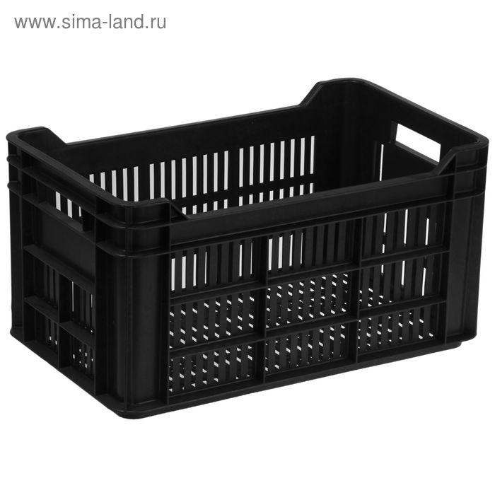 Ящик п/э 50х30х26,4 см, с перфорацией, цвет черный