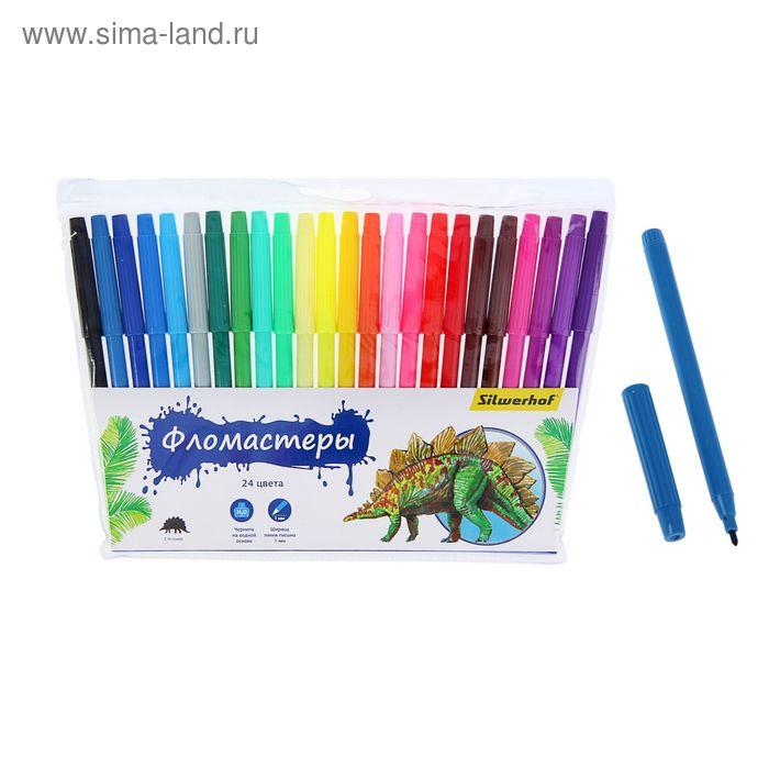 """Фломастеры 24 цвета """"Динозавры"""", невентилируемый колпачок, европодвес"""