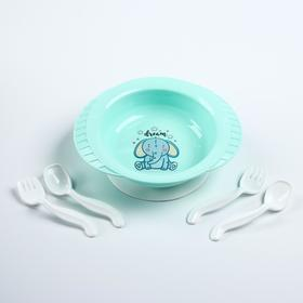 Набор детской посуды: тарелка на присоске, 500 мл, ложка, 2 шт., вилка, 2 шт., цвета МИКС Ош
