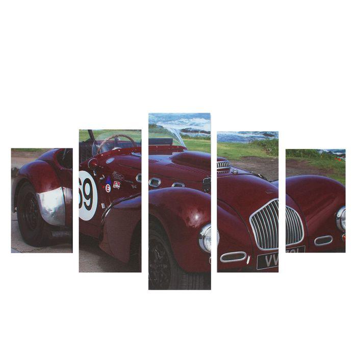 """Модульная картина на подрамнике """"Ретроавтомобиль"""", 2 — 43×25, 2 — 58×25, 1 — 72×25, 75×135 см"""