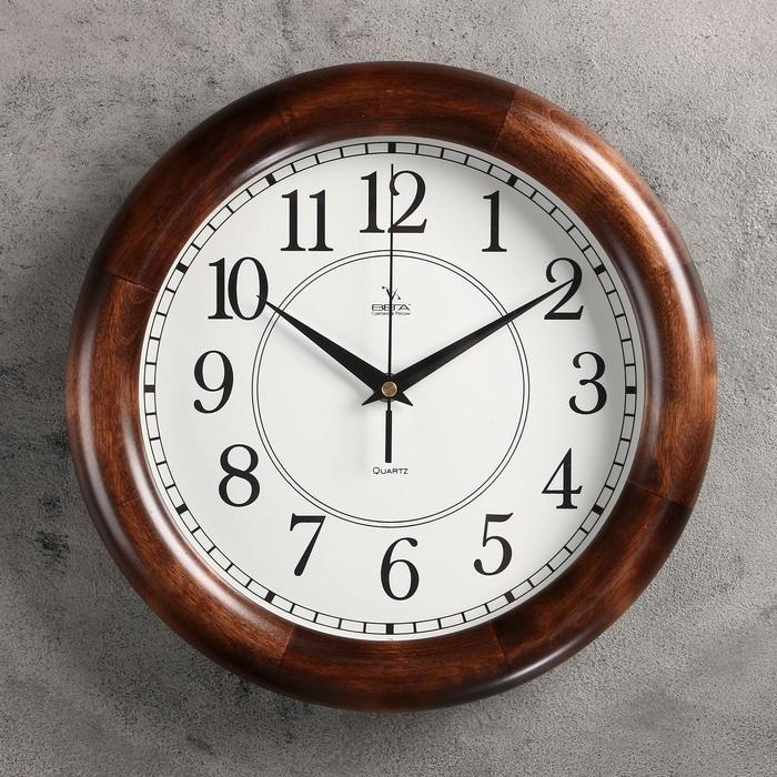"""Часы настенные круглые """"Классика глянец"""", 30х30см, деревянный обод, микс"""