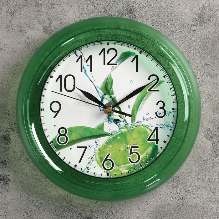 "Часы настенные, серия: Кухня, ""Лайм"", зеленый обод, 22,5х22,5 см"