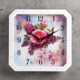 """Часы настенные, серия: Цветы, """"Роза и сирень"""", белая рамка, 28х28 см"""