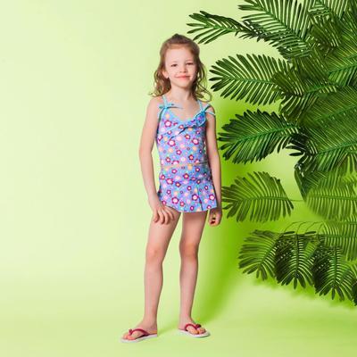 """Детский раздельный купальник """"Голубое облачко"""" ( рост 116-122 см, 6-7 лет), 100% полиэстер"""