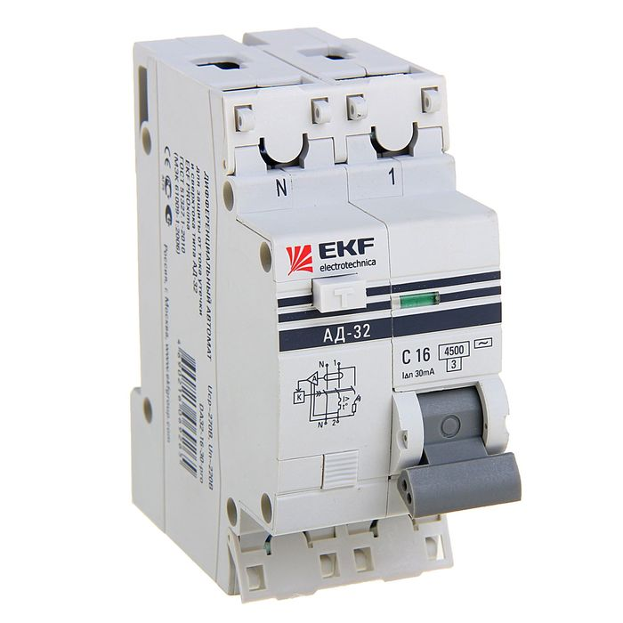 Дифференциальный автомат EKF PROxima АД-32, 1п+N 2мод., 16 А, 30мА