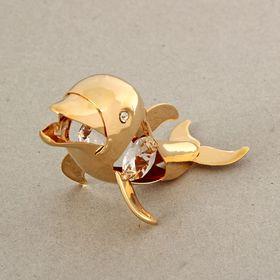 """Сувенир """"Дельфин"""" с 4 кристаллами Сваровски 8х3х5см, U-5066"""