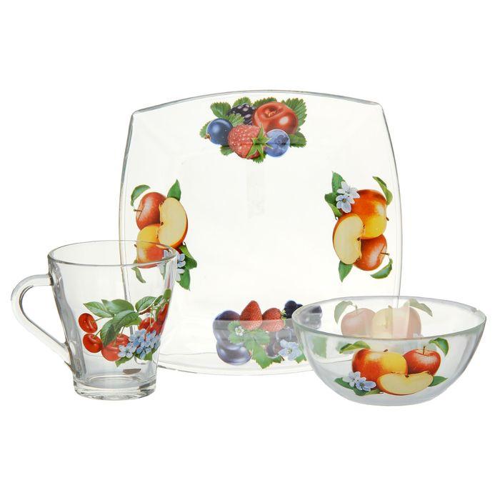 "Набор для завтрака ""Ягодная поляна"", 3 предмета: тарелка 19,5х19,5 см, салатник d=13 см, кружка 250 мл, МИКС"