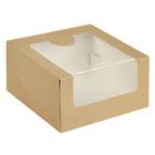 Кондитерская упаковка, короб с окном крафт, 18 х 18 х 10 см