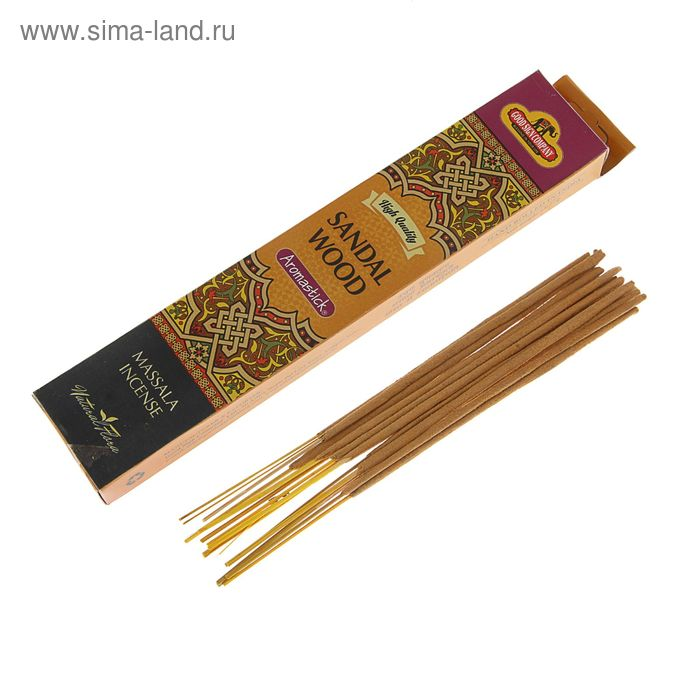 """Благовония масала Good Sign Company """"Сандал"""", 14 ароматических палочек в упаковке"""