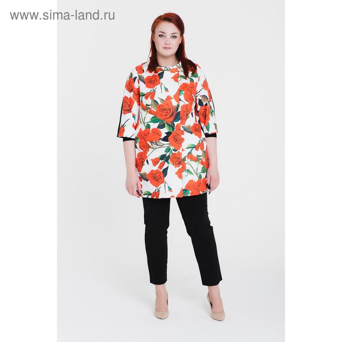 Пальто женское «Кармен», рост 168 см, размер 52, рукав 7/8, цвет белый/цветок (С+)