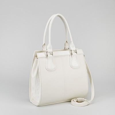 Сумка женская на молнии, 1 отдел, 1 наружный карман, цвет белый