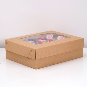 Коробка на 12 капкейков с окном, крафт, 32,5 х 25,5 х 10 см