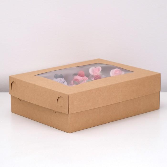Коробка на 12 капкейков с окном, крафт, 32,5 х 25,5 х 10 см - фото 308035160