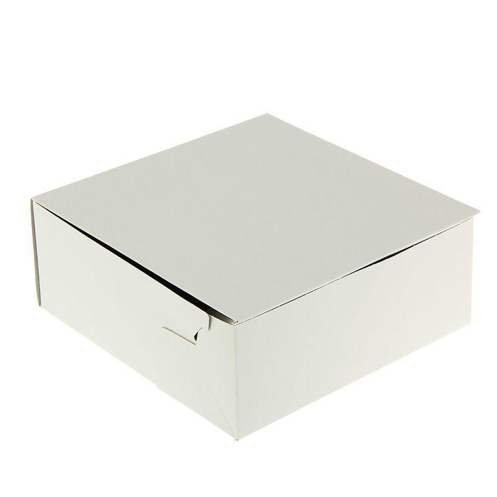 Кондитерская упаковка, короб, белый, 22,5 х 22,5 х 9 см - фото 155975196