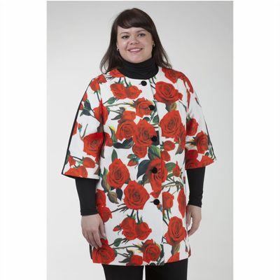 Пальто женское «Джери», рост 168, размер 46, рукав 7/8, цвет белый/цветок