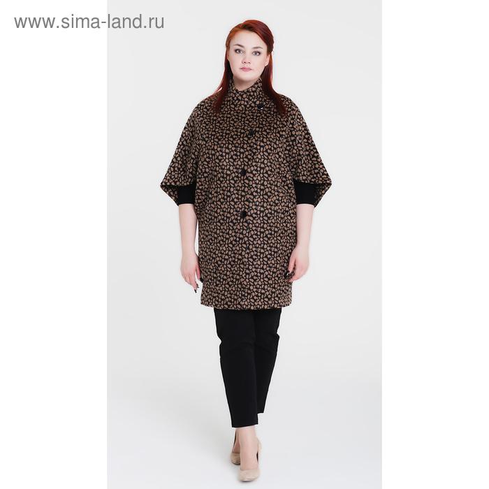 """Пальто женское """"Капля"""", рост 168 см, размер 54, цвет чёрный/бежевый"""