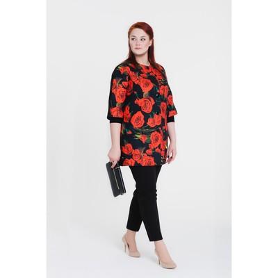 Пальто женское «Кармен», рост 168, размер 46, рукав 7/8, цвет черный/цветок