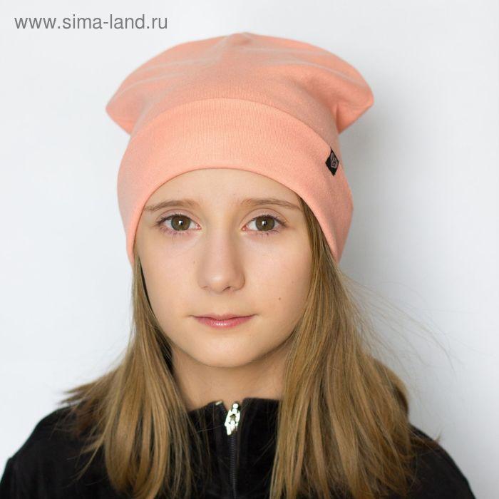 """Шапка для девушек """"М-40"""" демисезонная, размер 56-58, цвет светло-коралловый (арт. 190083)"""