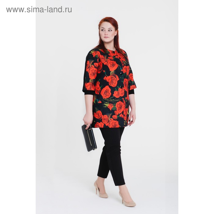 Пальто женское «Кармен», рост 168, размер 48, рукав 7/8, цвет черный/цветок