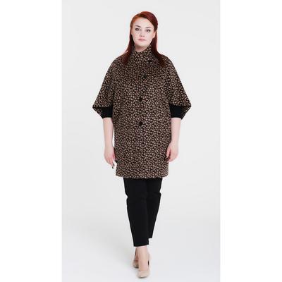 """Пальто женское """"Капля"""", рост 168 см, размер 48, цвет чёрный/бежевый"""