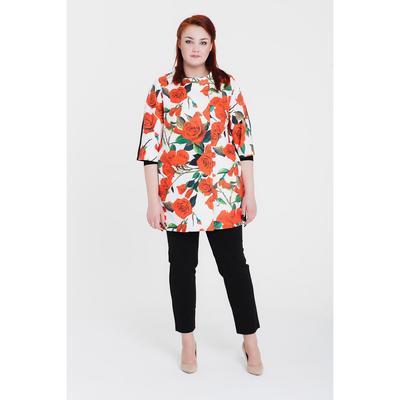 Пальто женское «Кармен», рост 168, размер 46, рукав 7/8, цвет белый/цветок
