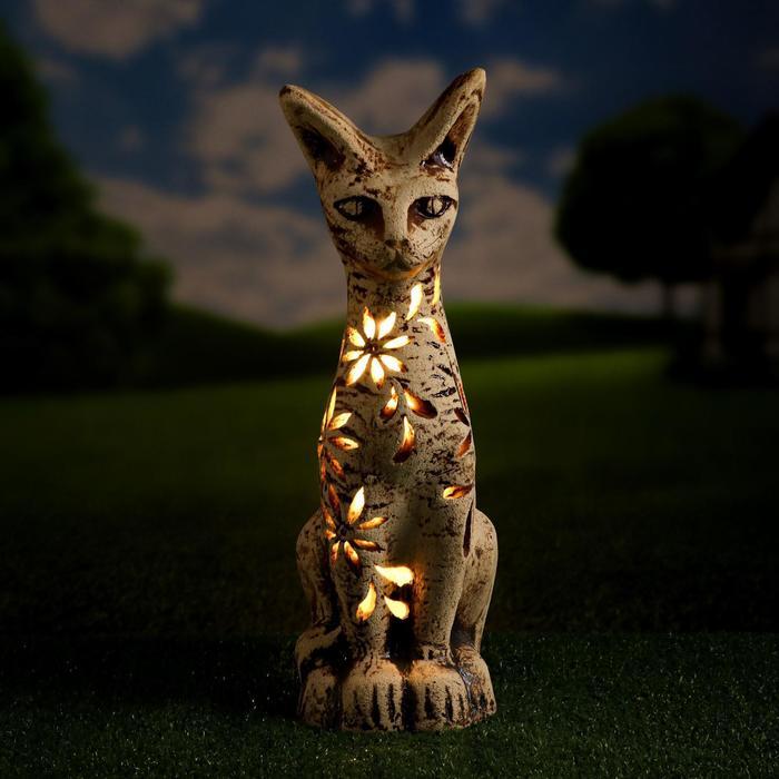 """Садовый светильник """"Кошка"""" шамот, резная"""