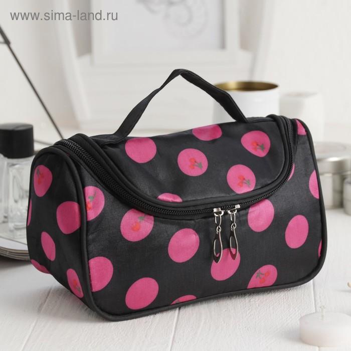 """Косметичка-сумочка на молнии """"Горошек"""", 1 отдел, чёрная"""