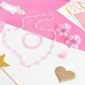 "A set of children's ""Vibracula"" 5 pieces: 2 headband, necklace, bracelet, ring, flower, color pink"