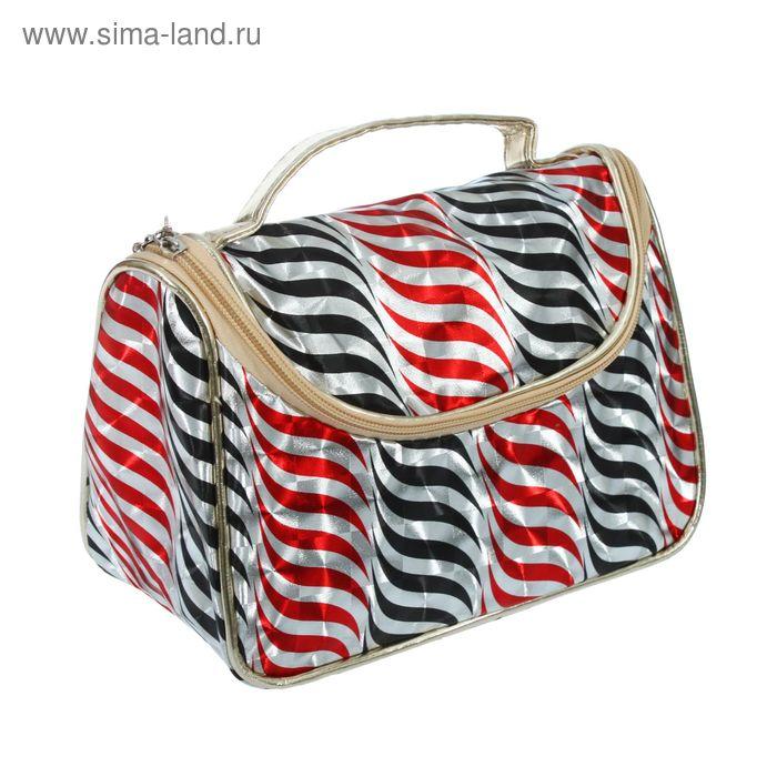 """Косметичка-сумочка на молнии """"Волны"""", 1 отдел, цвет серебристый"""