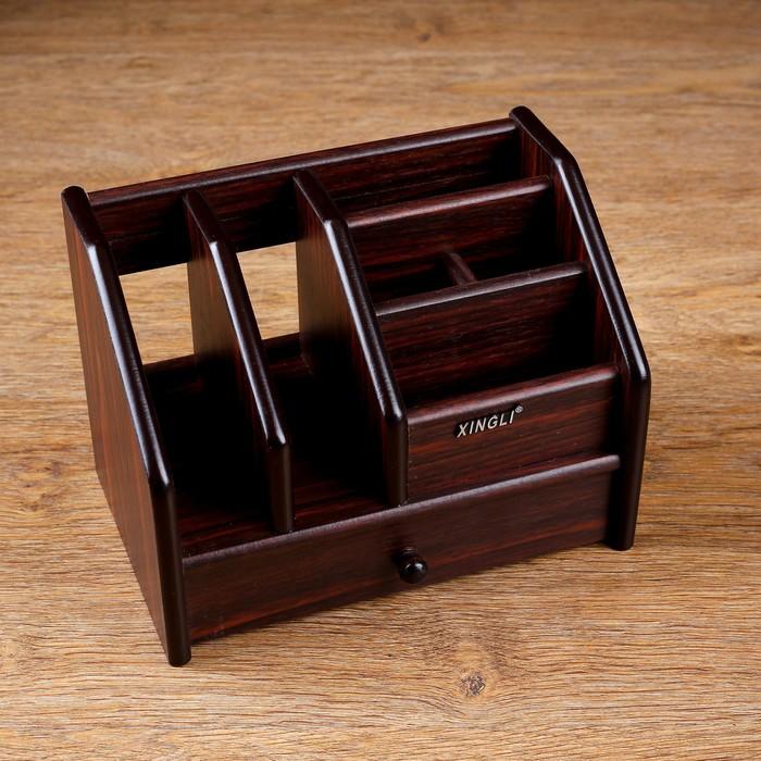 Органайзер 6 секций, ящик, дерево в полоску, 22х15х16 см