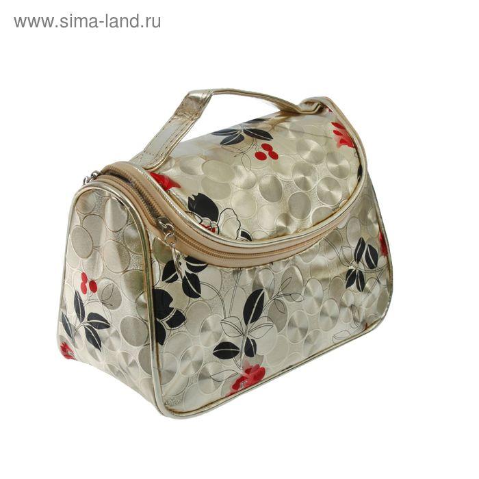 """Косметичка-сумочка на молнии """"Узоры"""", 1 отдел, цвет золотистый"""