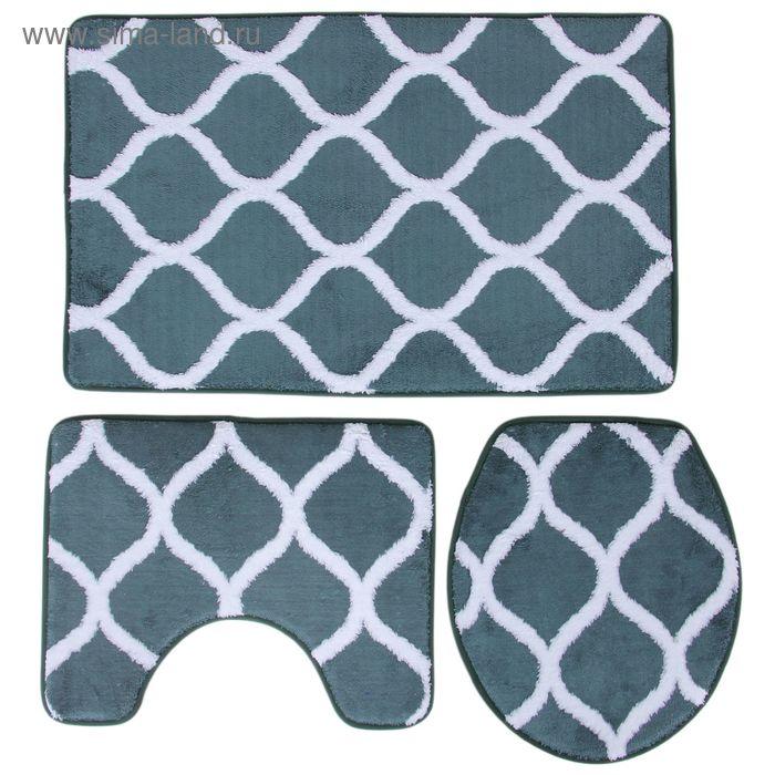 Набор ковриков для ванной и туалета, 3 шт, 50х80 см, 50х40 см, 36х43 см, цвет зеленый