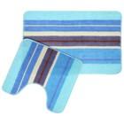 """Набор ковриков для ванной и туалета """"Полоски"""" 2 шт, цвет голубой"""
