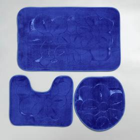Набор ковриков для ванны и туалета, 3 шт: 36×43, 40×50, 50×80 см, цвет синий