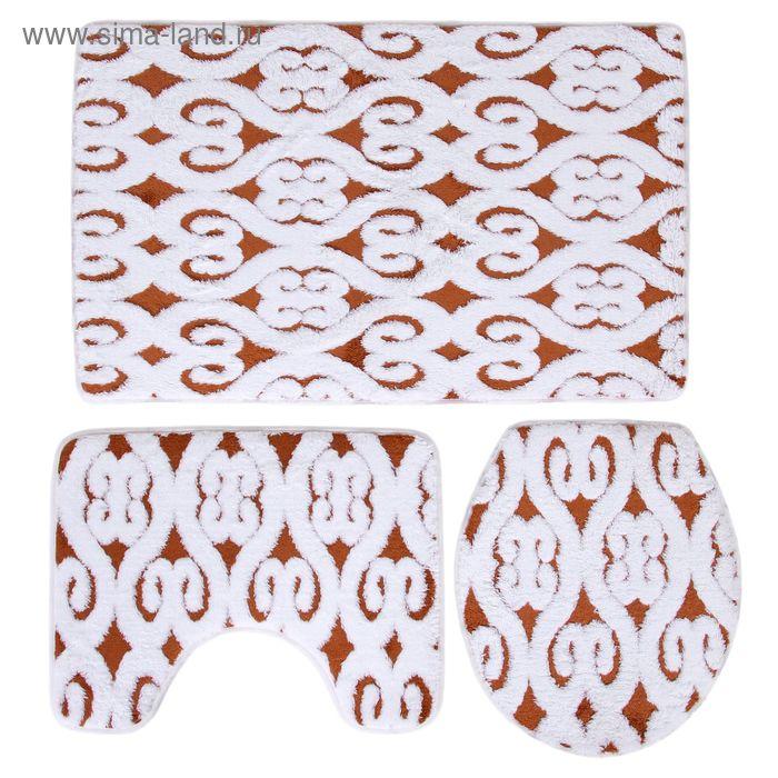 Набор ковриков для ванной и туалета, 3 шт 50х80 см, 50х40 см, 36х43 см, цвет коричневый