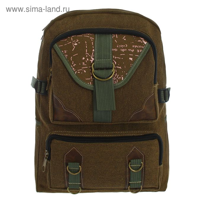 """Рюкзак молодёжный """"Техас"""", 1 отдел, 2 наружных кармана, коричневый"""