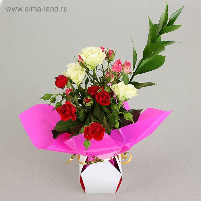 Коробка для цветов 2в1, 12х17 см, сборная, малиновый