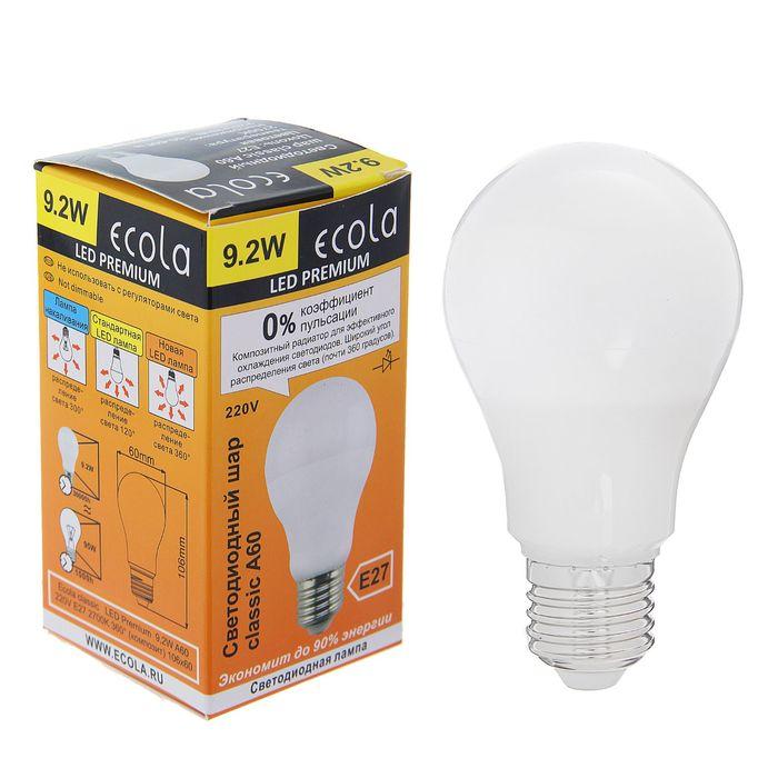 Лампа светодиодная Ecola, A60, Е27, 9.2 Вт, 2700 К, 360°, композит