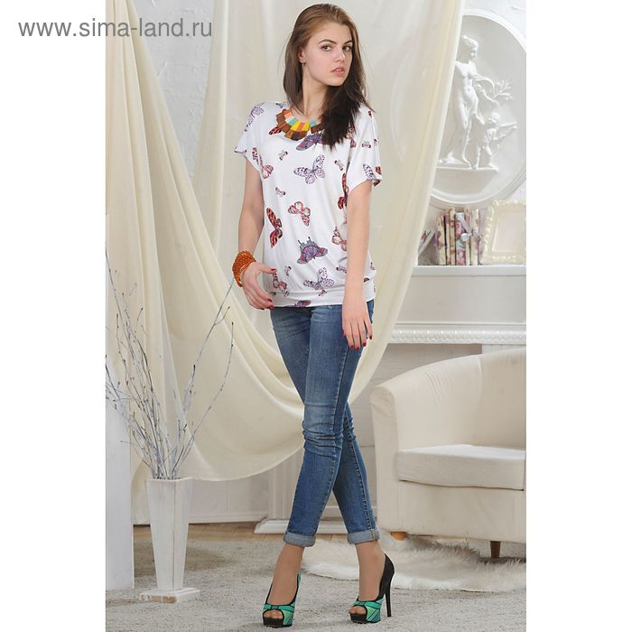 Блуза женская, рост 164 см, размер 48, цвет белый (арт. 4724)
