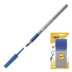 Ручка шариковая, чернила синие, 0.8 мм, тонкое письмо, резиновый упор, набор 6+2, BIC Round Stic Exact