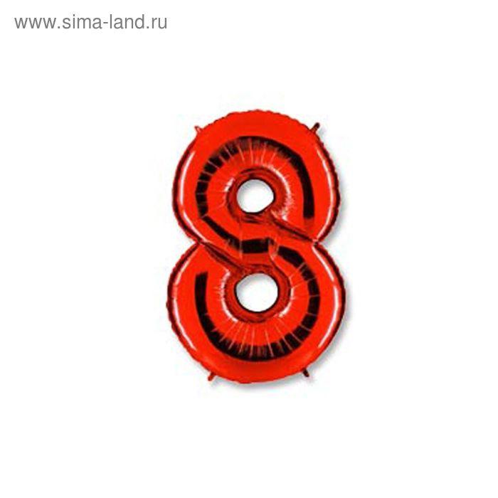 """Шар фольгированный 40"""" """"Цифра 8"""", цвет красный"""
