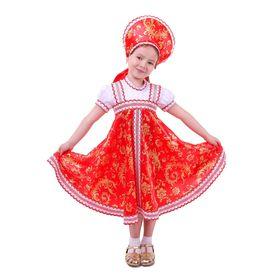 Русский народный костюм для девочки с кокошником, красно-бежевые узоры, р-р 56, рост 98-104 см