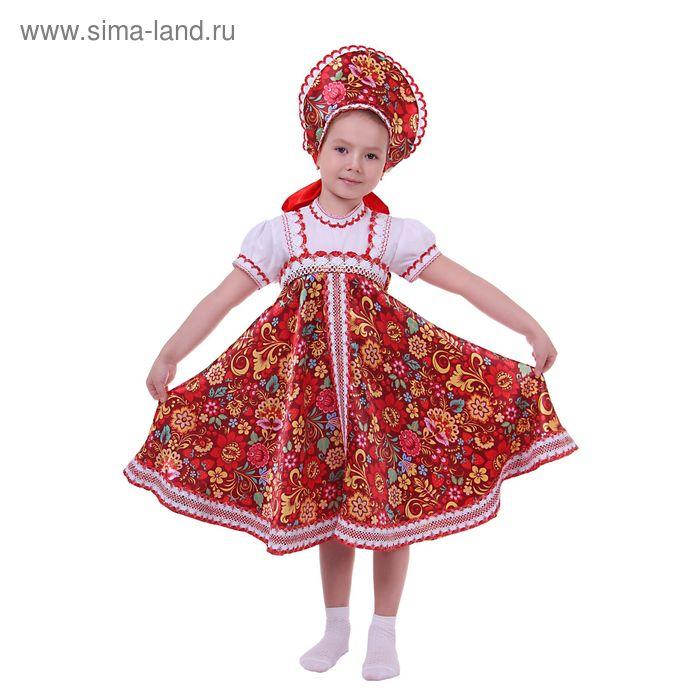 Русский народный костюм для девочки с кокошником, хохлома, обхват груди 60 см, рост 110 см