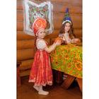 Русский народный костюм для девочки с кокошником, красно-бежевые узоры, р-р 60, рост 110-116 см - фото 106542997